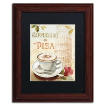 Trademark Fine Art Cafe in Europe IV Wood Finish Framed Wall Art