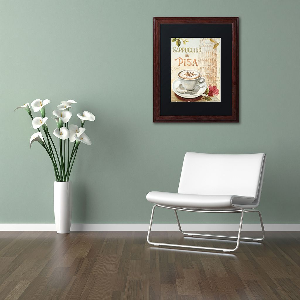 Trademark Fine Art Cafe in Europe IV Wood Finish Framed Wall Art