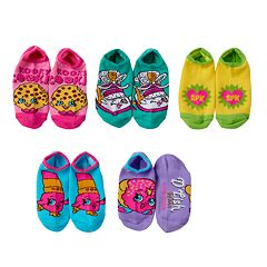 Girls 4-16 Shopkins 5 pkNo-Show Graphic Socks