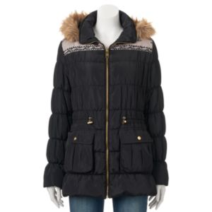 Juniors' Coffee Shop Faux-Fur Puffer Anorak Jacket