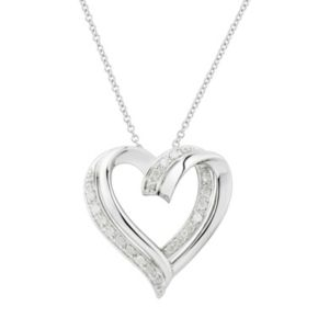 Two Hearts Forever One  Sterling Silver 1/4 Carat T.W. Diamond Heart Pendant