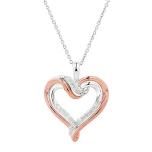 Two Hearts Forever One Two Tone Sterling Silver 1/4 Carat T.W. Diamond Heart Pendant