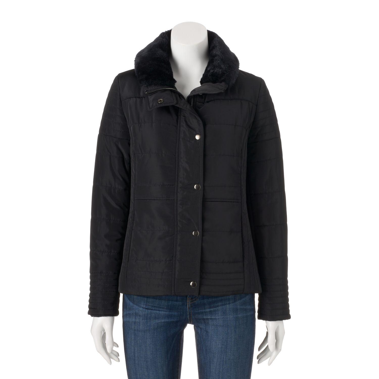 Juniors Coffee Shop Faux-Fur Collar Puffer Jacket