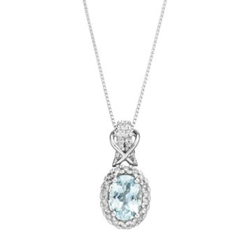 10k White Gold Aquamarine & 1/6 Carat T.W. Diamond Halo Pendant Necklace