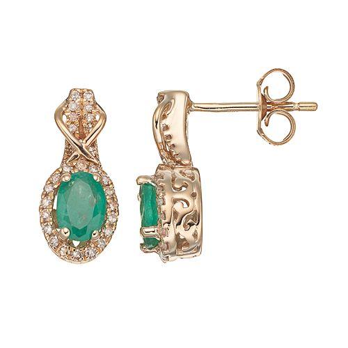 10k Gold Emerald & 1/4 Carat T.W. Diamond Halo Stud Earrings