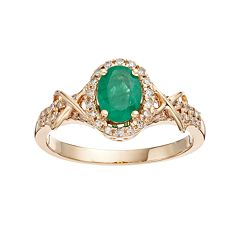 10k Gold Emerald & 1/4 Carat T.W. Diamond Halo Ring
