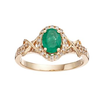 10k Gold Emerald & 1/4 Carat T.W. Diamond Halo Ring