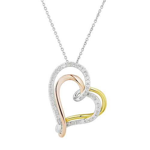 Two Hearts Forever One Tri Tone Sterling Silver 1/2 Carat T.W. Diamond Heart Pendant