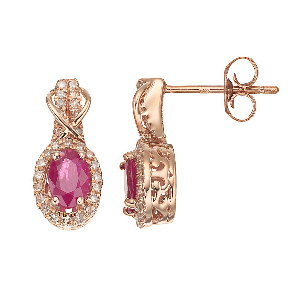 10k Rose Gold Ruby & 1/4 Carat T.W. Diamond Halo Stud Earrings