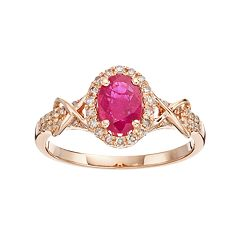 10k Rose Gold Ruby & 1/4 Carat T.W. Diamond Halo Ring