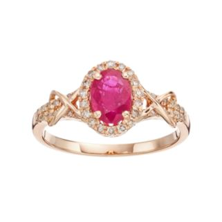 10k Rose Gold Ruby & 1/4 Carat T.W. Diamond Halo Ring