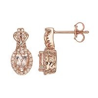 10k Rose Gold Morganite & 1/4 Carat T.W. Diamond Halo Stud Earrings