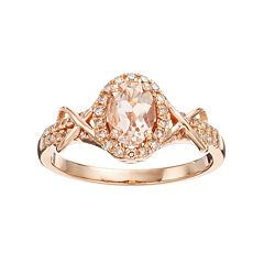 10k Rose Gold Morganite & 1/4 Carat T.W. Diamond Halo Ring