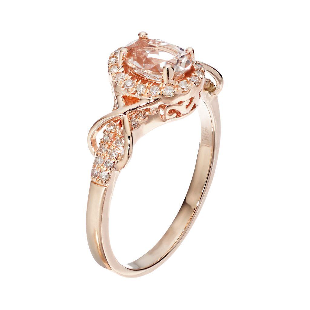 10k Rose Gold Morganite& 1/4 Carat T.W. Diamond Halo Ring