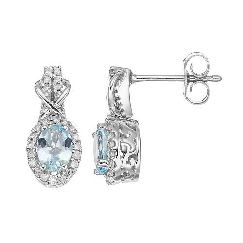 10k White Gold Aquamarine & 1/4 Carat T.W. Diamond Halo Stud Earrings