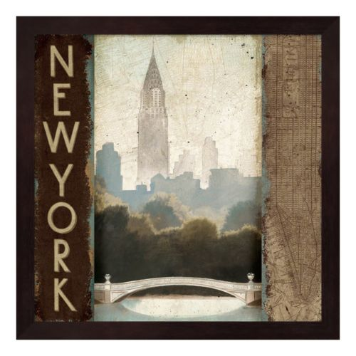 Metaverse Art Skyline New York Vintage Framed Wall Art