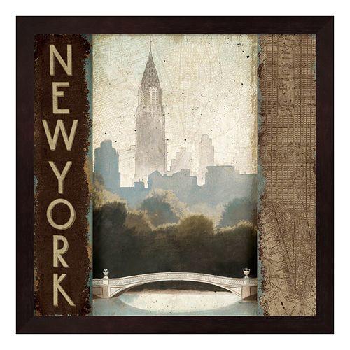 Metaverse Art Skyline New York Vintage Framed Wall Art