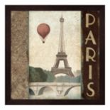 Metaverse Art Skyline Paris Vintage Square Framed Wall Art