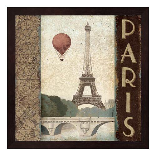 Metaverse Art Skyline Paris Vintage Square Framed Wall Art