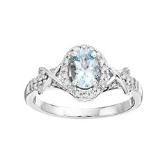 10k White Gold Aquamarine & 1/4 Carat T.W. Diamond Halo Ring