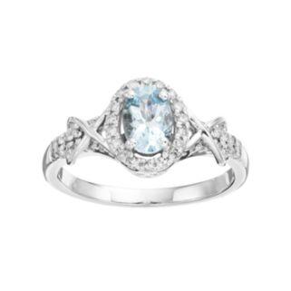 10k White Gold Aquamarine & 1/4 Carat T.W. Diamond Halo Ring