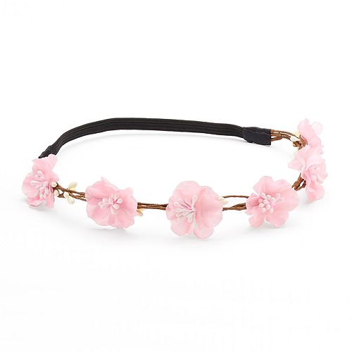 Mudd® Pink Flower & Branch Elastic Headband