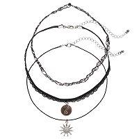 Mudd® Sunflower, Yin-Yang & Tattoo Choker Necklace Set