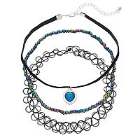 Mudd® Iridescent Bead, Heart & Tattoo Choker Necklace Set