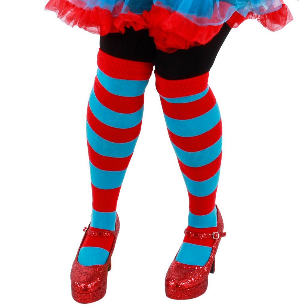 Adult Cat in the Hat Thing 1 or Thing 2 Striped Knee-High Costume Socks