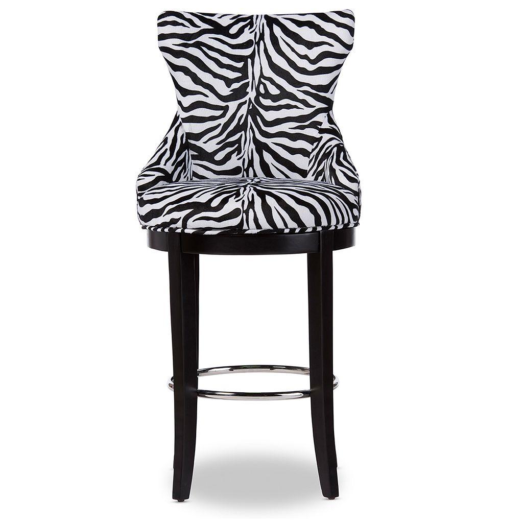 Baxton Studio Peace Zebra Print Bar Stool