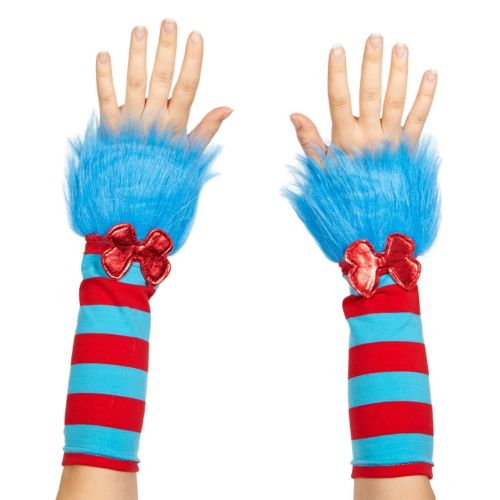 Adult Cat in the Hat Thing 1 or Thing 2 Striped Fuzzy Costume Glovettes