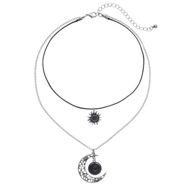 Mudd® Sun & Moon Pendant Layered Choker Necklace