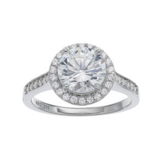 PRIMROSE Sterling Silver Cubic Zirconia Halo Ring