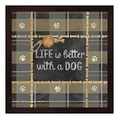 Metaverse Art Dog Sentiment Plaid II Framed Wall Art