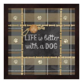 Metaverse Art Dog Sentiment Plaid II Framed Wall Art