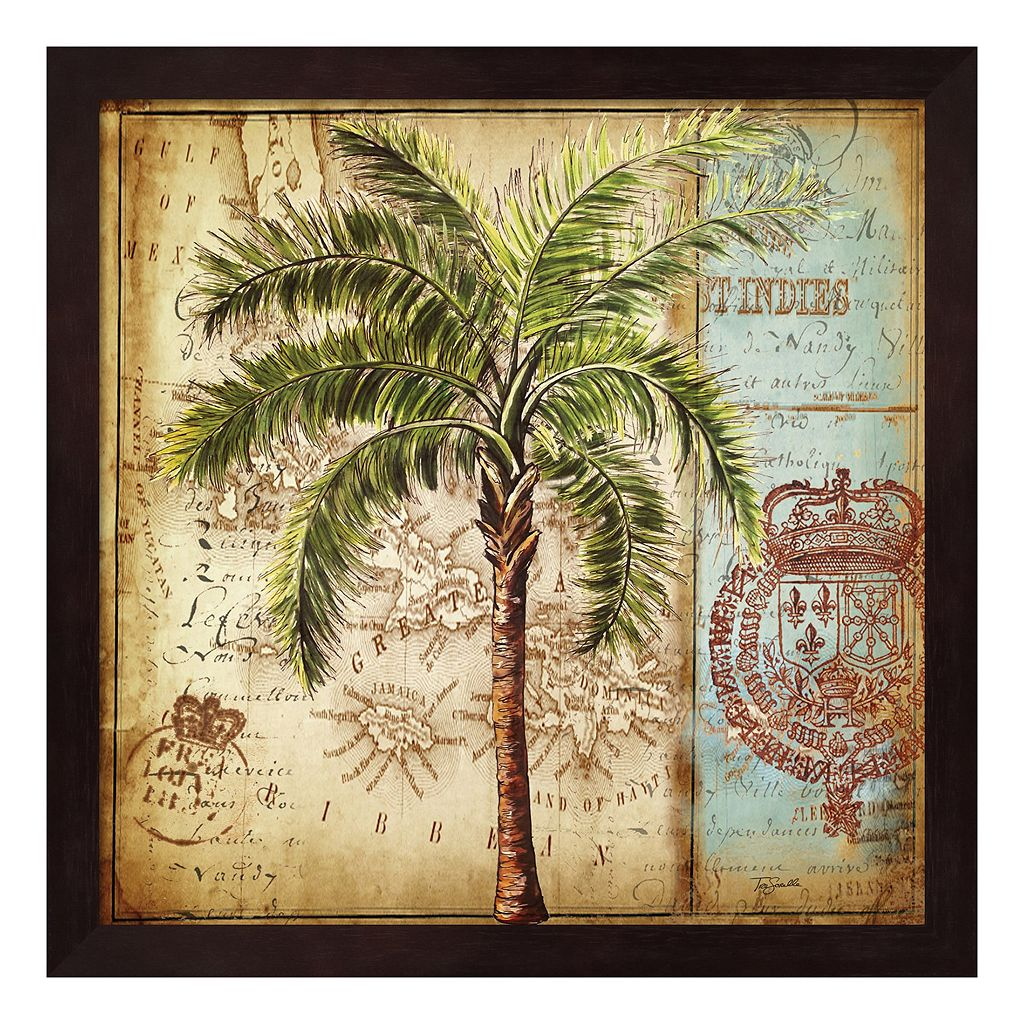 Metaverse Art Antique Nautical Palms II Framed Wall Art