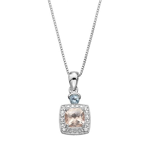 Sterling Silver Gemstone & Diamond Accent Halo Pendant Necklace