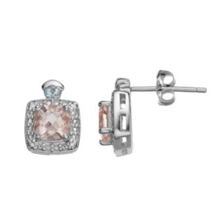 Sterling Silver Morganite & Aquamarine Halo Stud Earrings