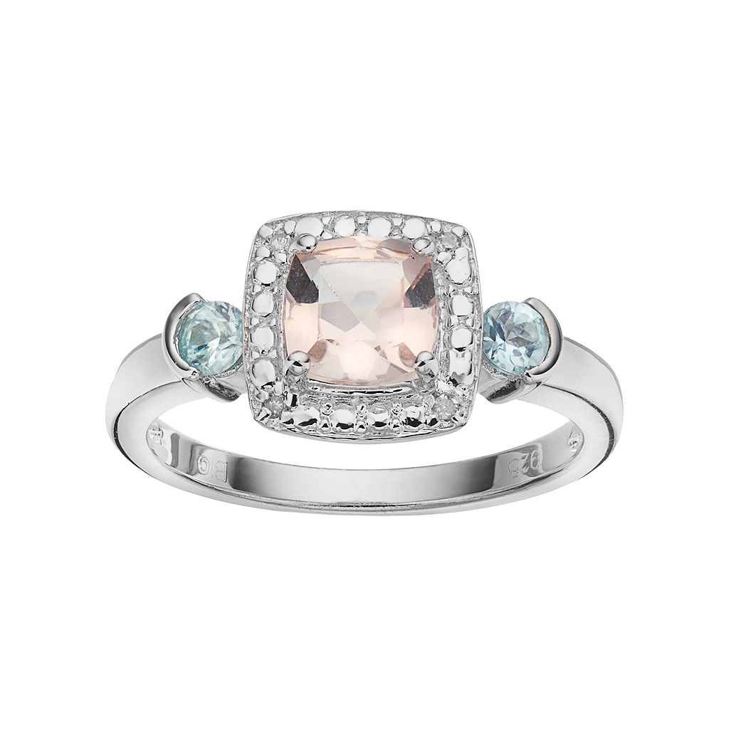 Sterling Silver Gemstone & Diamond Accent Halo Ring