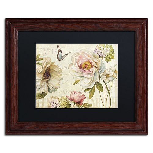 Trademark Fine Art Marche de Fleurs IV Wood Finish Framed Wall Art