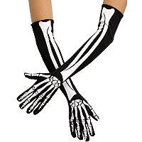 Adult Skeleton Bone Elbow-Length Costume Gloves