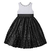 Girls 7-16 American Princess Rhinestone Neck Wavy Textured Skirt Dress