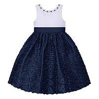 Girls 7-16 American Princess Rhinestone Neck Wavy Textured Skirt Dress