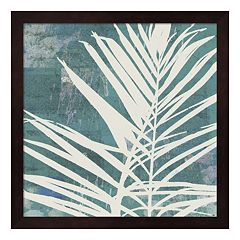 Metaverse Art Fronds on Azure Framed Wall Art