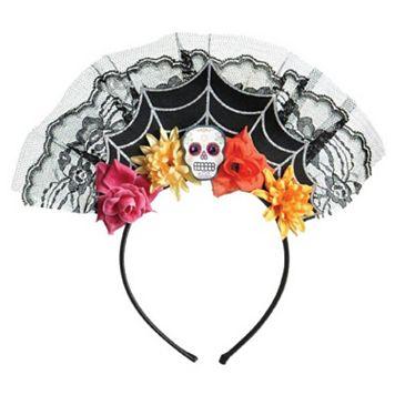 Adult Floral Spiderweb Sugar Skull Costume Headband