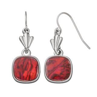 Red Simulated Abalone Nickel Free Fan Drop Earrings