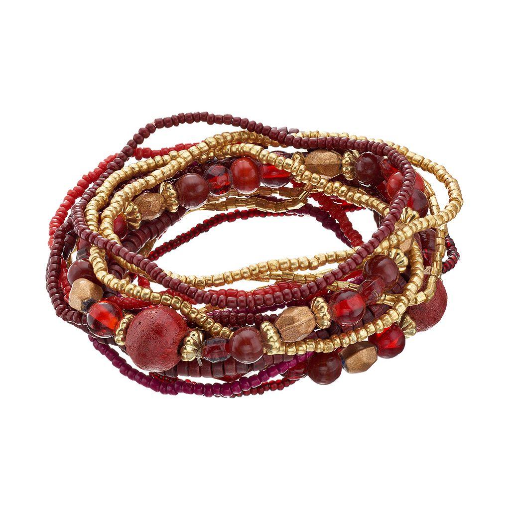 Red Seed Bead Multi Strand Stretch Bracelet