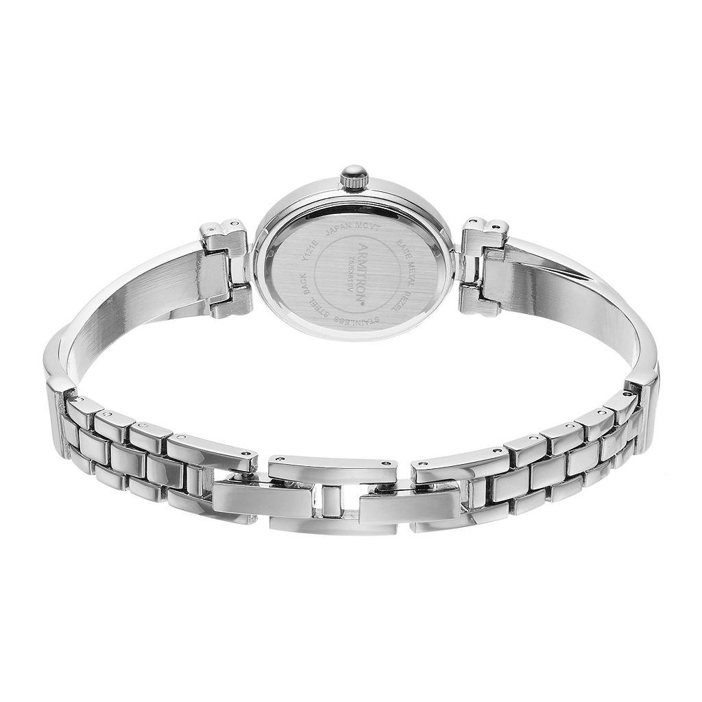 Armitron Women's Crystal Crisscross Half Bangle Watch & Bracelet Set - 75/5381MPSVST