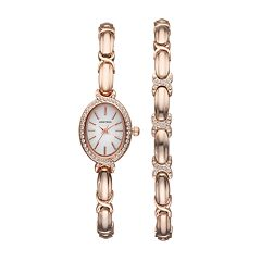 Armitron Women's Crystal X Link Watch & Bracelet Set - 75/5395MPRGST