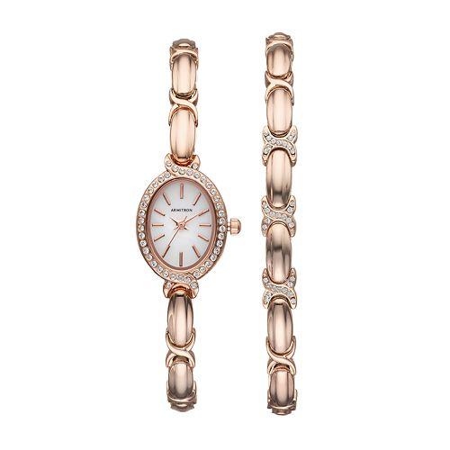 Armitron Women's Crystal X Link Watch & Bracelet Set - 75/5395MPRGST